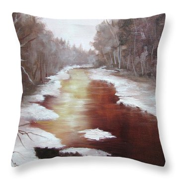 A Cold Snowy Day Throw Pillow