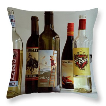 A Collection Of Wine Bottles Throw Pillow