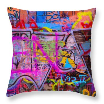 A Colourful Wall. Throw Pillow