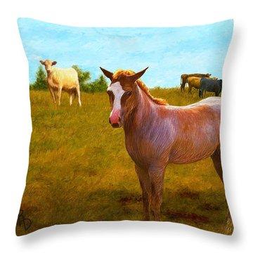 A Colt Among Cattle Throw Pillow
