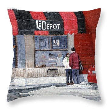 A Conversation Near Le Depot Throw Pillow