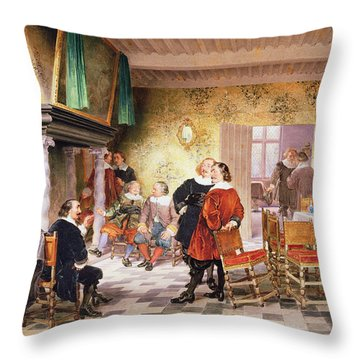 A Convivial Meeting Of The Brewers Throw Pillow by Louis Haghe