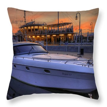 Throw Pillow featuring the photograph A Cool Motorboat Yacht In Sopot Marina by Julis Simo