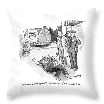A Cop And A Detective Stand Over The Face-down Throw Pillow