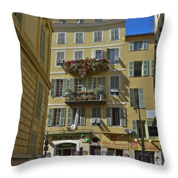 Throw Pillow featuring the photograph A Corner In Nice by Allen Sheffield