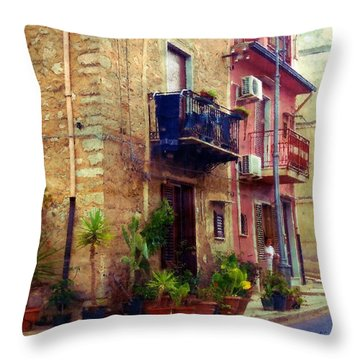 A Corner In Sicily Throw Pillow