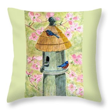 A Cottage For Two Throw Pillow by Angela Davies