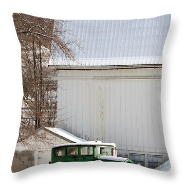 A Country Landscape With Classic Car Throw Pillow