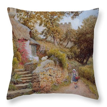 A Country Lane Throw Pillow by Arthur Claude Strachan