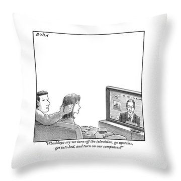A Couple Are Sitting On A Couch Late At Night Throw Pillow