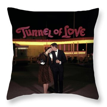 A Couple In Front Of A Tunnel Of Love Throw Pillow by Jerry Schatzberg