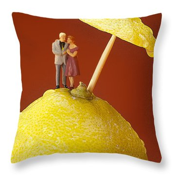Throw Pillow featuring the painting A Couple In Lemon Rain Little People On Food by Paul Ge