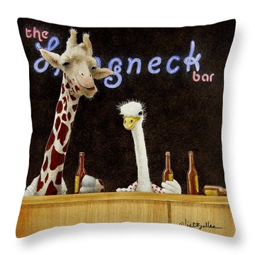 A Couple Of Longnecks... Throw Pillow by Will Bullas
