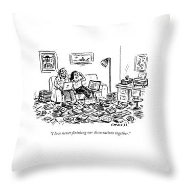 A Couple On A Couch Surrounded By Books Throw Pillow