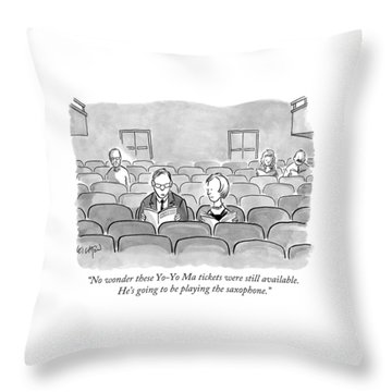 A Couple Sits Reading A Playbill Throw Pillow