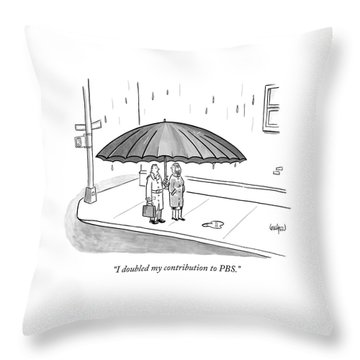 A Couple Under A Gigantic Umbrella On A City Throw Pillow