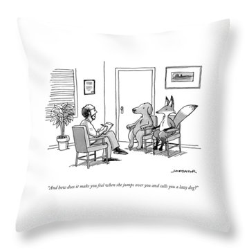 A Couples Therapist Speaks To A Fox And A Dog Throw Pillow