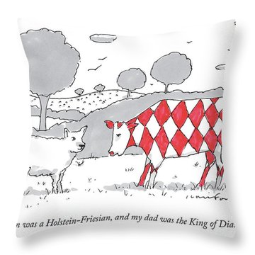 A Cow With A Red Diamond Spots Talks To Another Throw Pillow