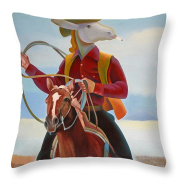 A Cowboy Throw Pillow by Jukka Nopsanen