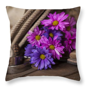 A Cowgirl's Flowers Throw Pillow by Amber Kresge