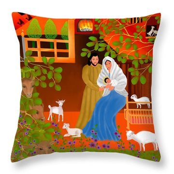 A Cradle In Bethlehem Throw Pillow by Latha Gokuldas Panicker