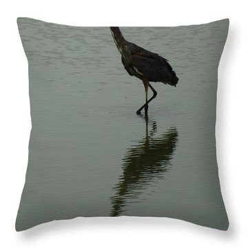 Throw Pillow featuring the photograph A Cranes Shadow by Ramona Whiteaker