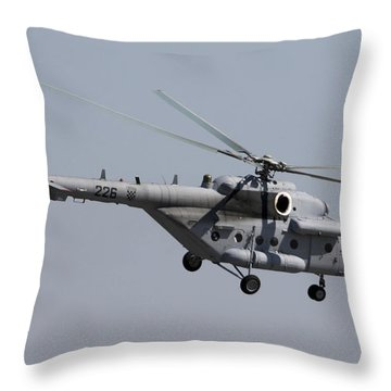 A Croatian Mil Mi-17 Helicopter Throw Pillow