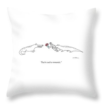 A Crocodile To Another Crocodile With A Person Throw Pillow by Michael Maslin