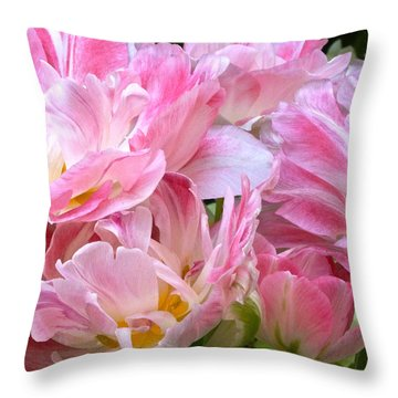 A Crowd Of Tulips Throw Pillow