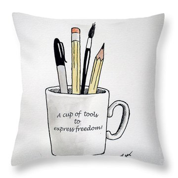 A Cup Of Tools To Express Freedom Throw Pillow