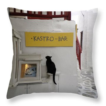 A Curious Cat In Mykonos Throw Pillow