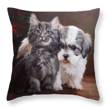 A Cute Couple - Custom Pet Portrait Throw Pillow