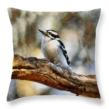 A Cute Little Woodpecker Throw Pillow by Tyler Robbins