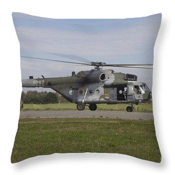 A Czech Air Force Mil Mi-171sh Throw Pillow