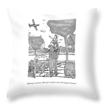 A Daughter Sits On Her Father's Shoulders Throw Pillow