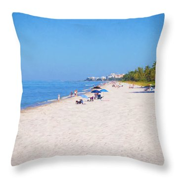 A Day At Naples Beach Throw Pillow