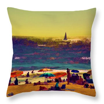 A Day At The Beach Throw Pillow by Billie-Jo Miller