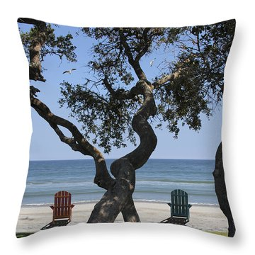 A Day At The Beach Throw Pillow by Mike McGlothlen