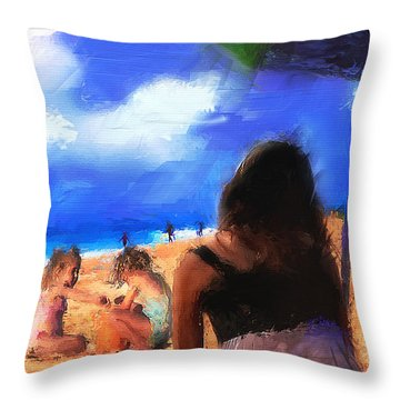 Throw Pillow featuring the painting A Day At The Beach by Ted Azriel