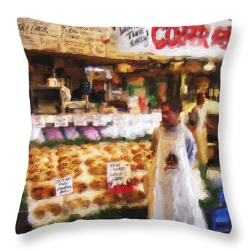 Throw Pillow featuring the painting A Day At The Fish Market by Ted Azriel