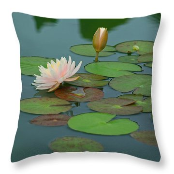 A Day At The Lily Pond Throw Pillow