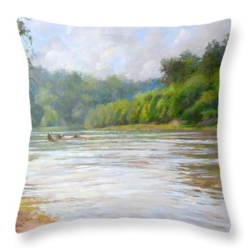 A Day At The River  Throw Pillow by Nancy Stutes