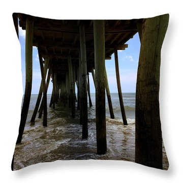 A Day At Virginia Beach Throw Pillow by Rebecca Davis