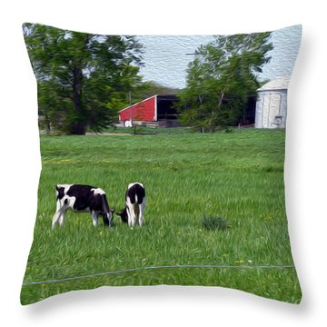 A Day In The Life - Digital Painting Effect Throw Pillow by Rhonda Barrett