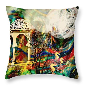 Throw Pillow featuring the mixed media A Day In The Park by Ally  White