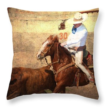 A Day In The Saddle Throw Pillow