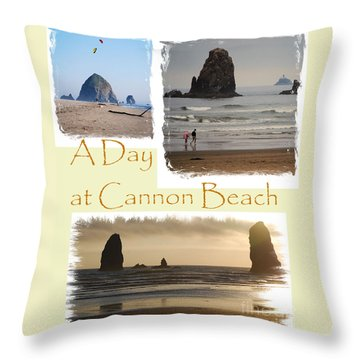 A Day On Cannon Beach Throw Pillow