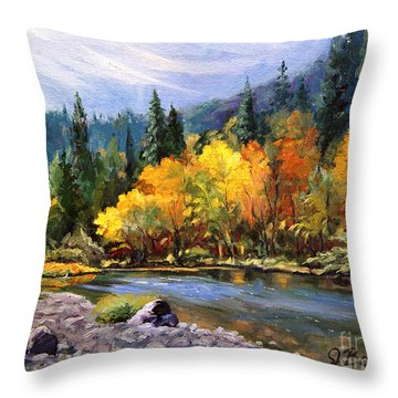 A Day On The River Throw Pillow by Jennifer Beaudet