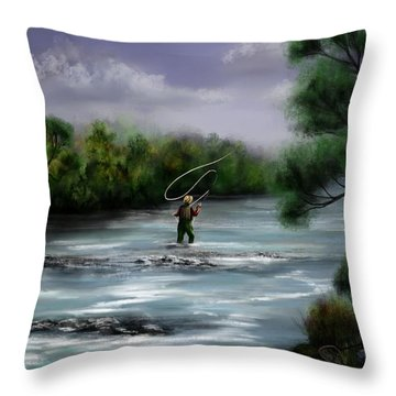 A Day On The Stream - Flyfishing Throw Pillow