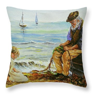 A Day With Grandad Throw Pillow